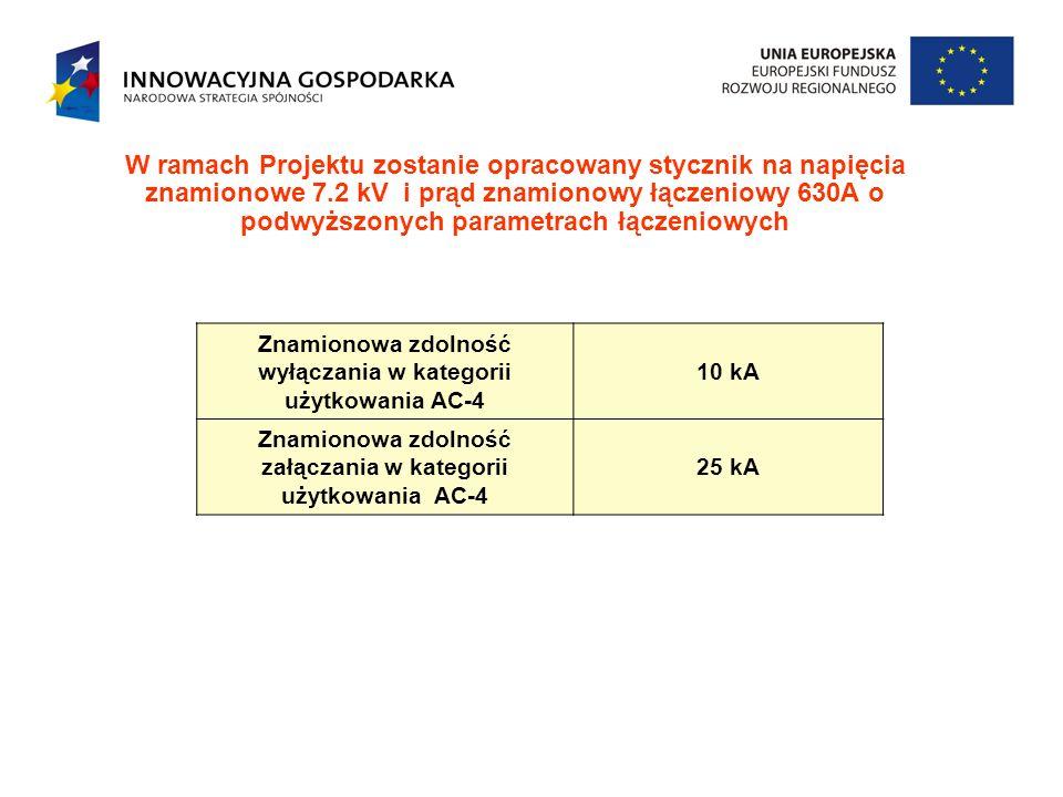 W ramach Projektu zostanie opracowany stycznik na napięcia znamionowe 7.2 kV i prąd znamionowy łączeniowy 630A o podwyższonych parametrach łączeniowyc
