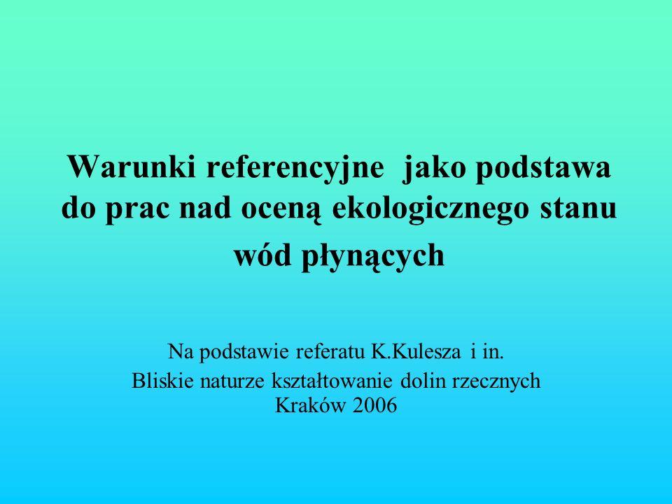 SYSTEM TYPOLOGICZNY WÓD POWIERZCHNIOWYCH Klasyfikacja wód wg RDW Kategorie wód – rzeki, jeziora, wody przejściowe, wody przybrzeżne Podział Polski wg Ekoregionów (wg Illiesa): Wyżyny Centralne, Karpaty, Równiny Centralne, Równiny Wschodnie Kryterium wielkości powierzchni zlewni : 10-100 km 2, 100- 1000 km 2, 1000-10 000 km 2, pow.