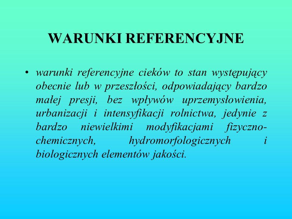 WARUNKI REFERENCYJNE warunki referencyjne cieków to stan występujący obecnie lub w przeszłości, odpowiadający bardzo małej presji, bez wpływów uprzemy
