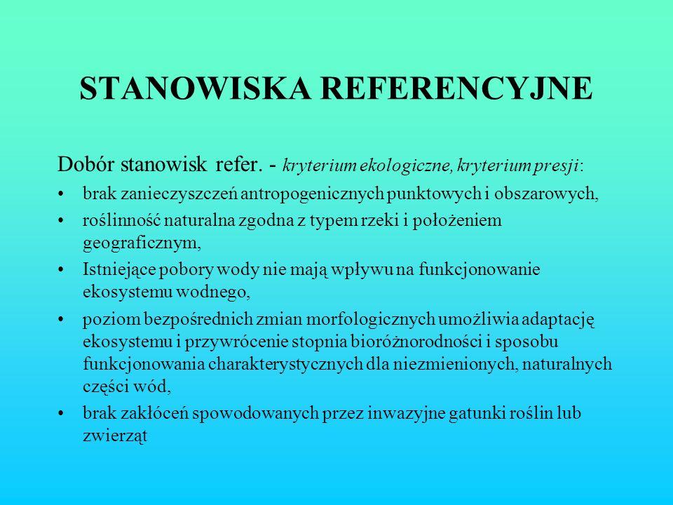 STANOWISKA REFERENCYJNE Dobór stanowisk refer. - kryterium ekologiczne, kryterium presji: brak zanieczyszczeń antropogenicznych punktowych i obszarowy