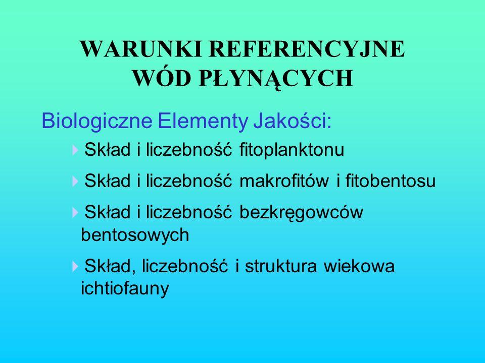 WARUNKI REFERENCYJNE WÓD PŁYNĄCYCH Biologiczne Elementy Jakości: Skład i liczebność fitoplanktonu Skład i liczebność makrofitów i fitobentosu Skład i