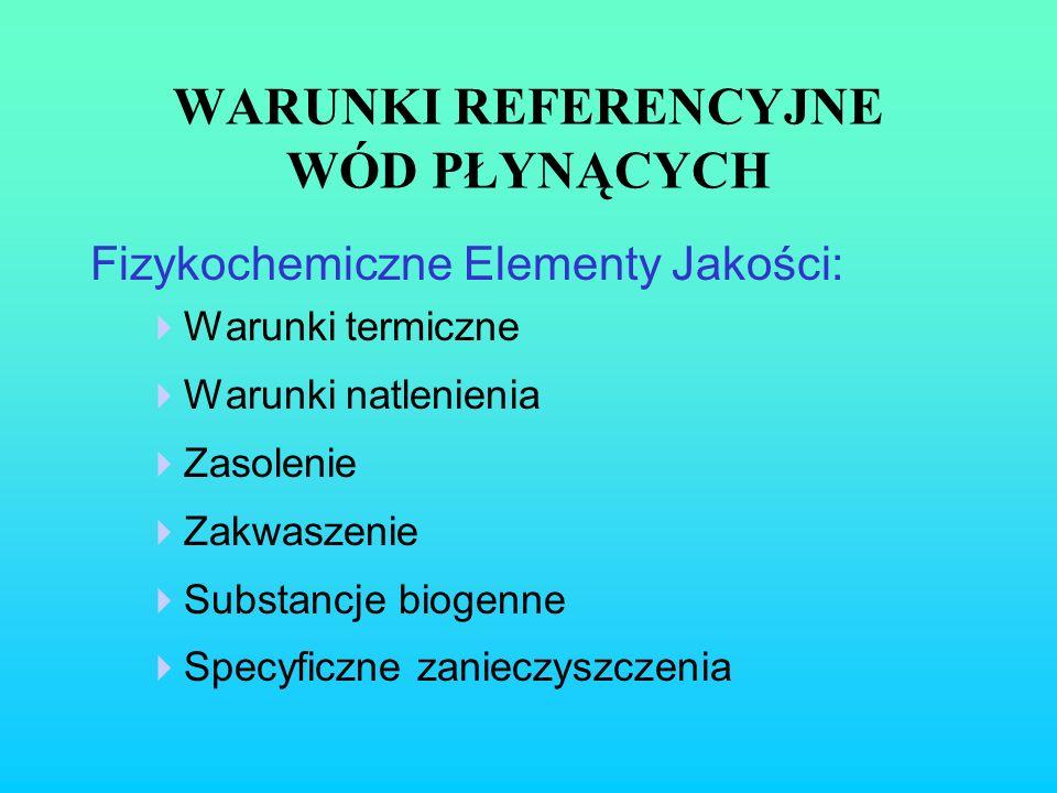 WARUNKI REFERENCYJNE WÓD PŁYNĄCYCH Fizykochemiczne Elementy Jakości: Warunki termiczne Warunki natlenienia Zasolenie Zakwaszenie Substancje biogenne S