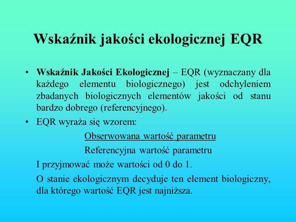 Wskaźnik jakości ekologicznej EQR Wskaźnik Jakości Ekologicznej – EQR (wyznaczany dla każdego elementu biologicznego) jest odchyleniem zbadanych biolo