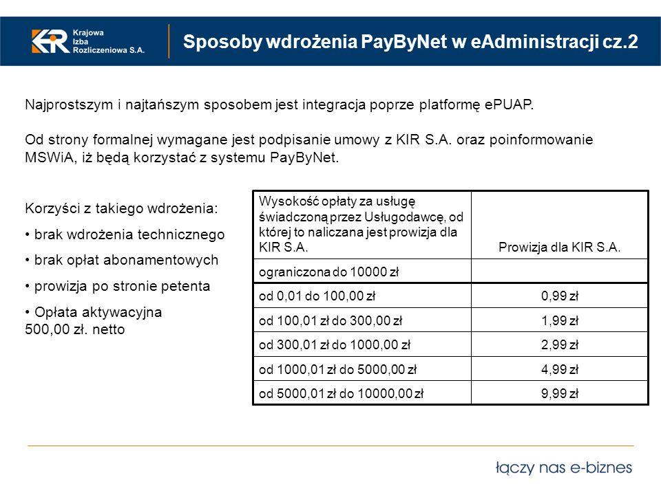 Sposoby wdrożenia PayByNet w eAdministracji cz.2 Najprostszym i najtańszym sposobem jest integracja poprze platformę ePUAP. Od strony formalnej wymaga