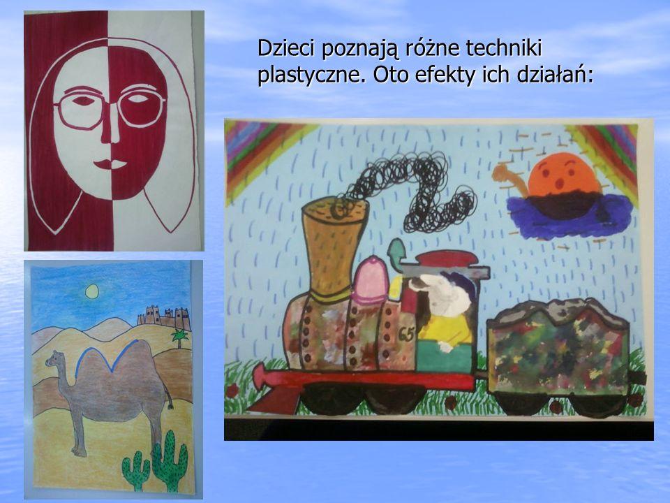 Dzieci poznają różne techniki plastyczne. Oto efekty ich działań: