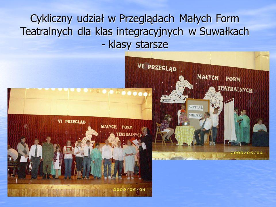 Cykliczny udział w Przeglądach Małych Form Teatralnych dla klas integracyjnych w Suwałkach - klasy starsze