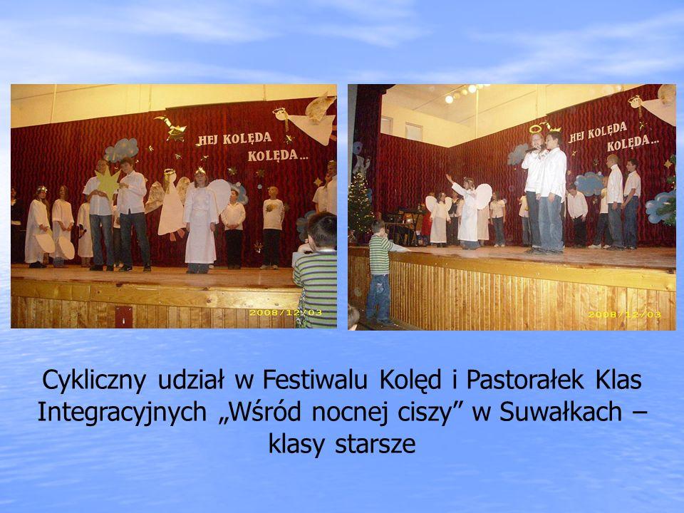 Cykliczny udział w Festiwalu Kolęd i Pastorałek Klas Integracyjnych Wśród nocnej ciszy w Suwałkach – klasy starsze