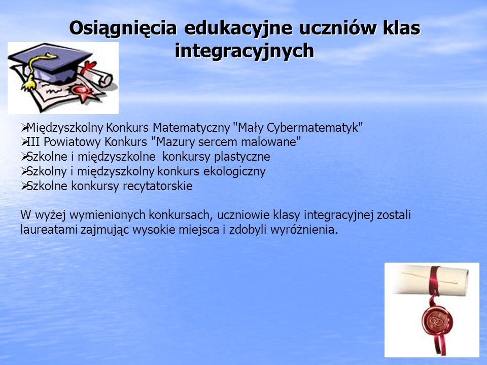 Osiągnięcia edukacyjne uczniów klas integracyjnych Międzyszkolny Konkurs Matematyczny