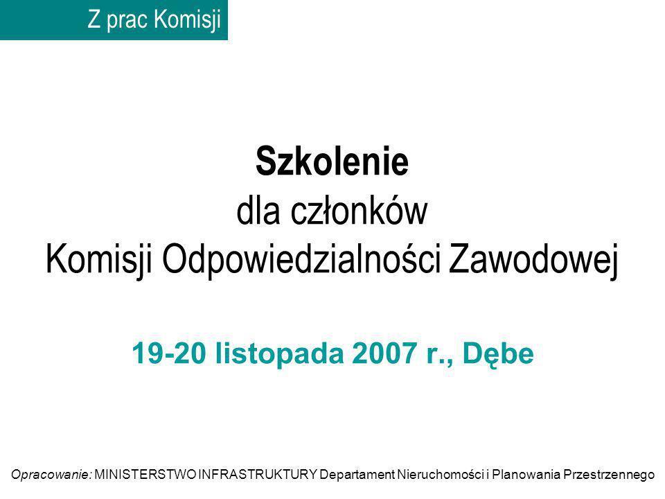 Szkolenie dla członków Komisji Odpowiedzialności Zawodowej 19-20 listopada 2007 r., Dębe Z prac Komisji Opracowanie: MINISTERSTWO INFRASTRUKTURY Depar
