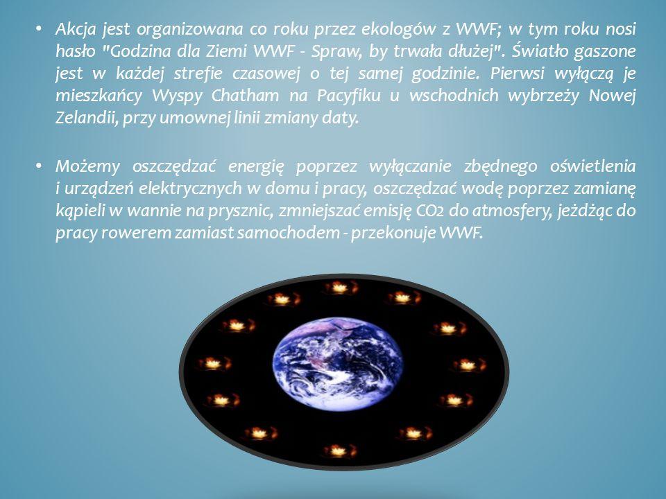 Akcja jest organizowana co roku przez ekologów z WWF; w tym roku nosi hasło Godzina dla Ziemi WWF - Spraw, by trwała dłużej .