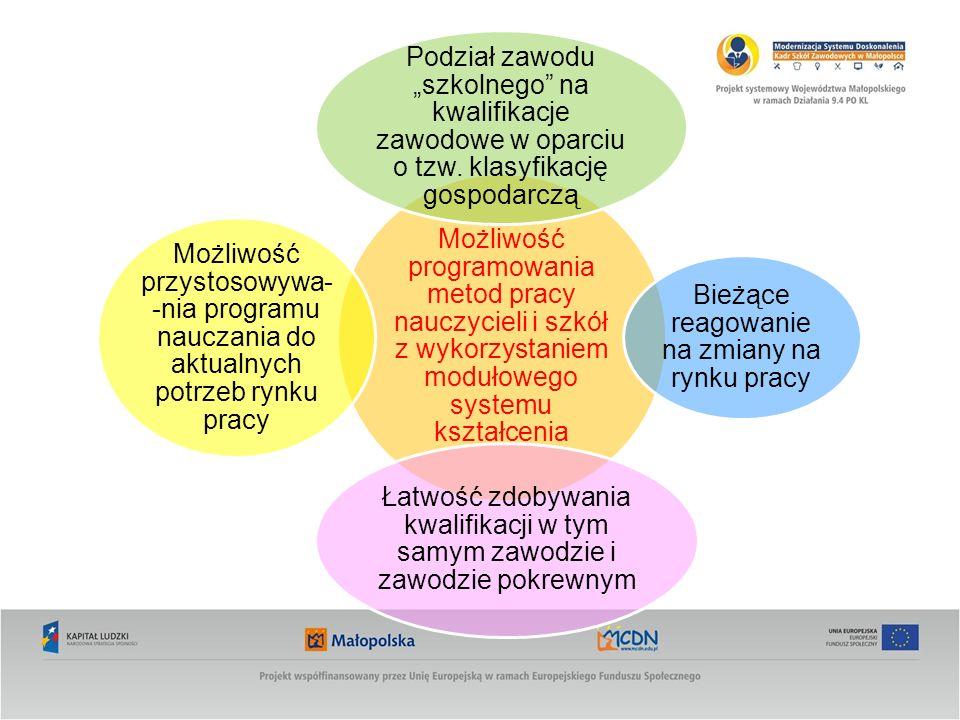Możliwość programowania metod pracy nauczycieli i szkół z wykorzystaniem modułowego systemu kształcenia Podział zawodu szkolnego na kwalifikacje zawodowe w oparciu o tzw.