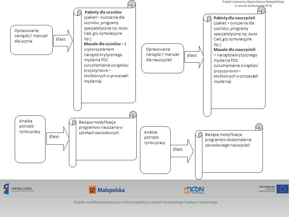 Opracowanie narzędzi / manuali dla ucznia Efekt Pakiety dla uczniów (pakiet – ćwiczenia dla uczniów, programy specjalistyczne np.