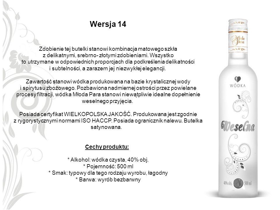 Wersja 14 Zdobienie tej butelki stanowi kombinacja matowego szkła z delikatnymi, srebrno- złotymi zdobieniami. Wszystko to utrzymane w odpowiednich pr