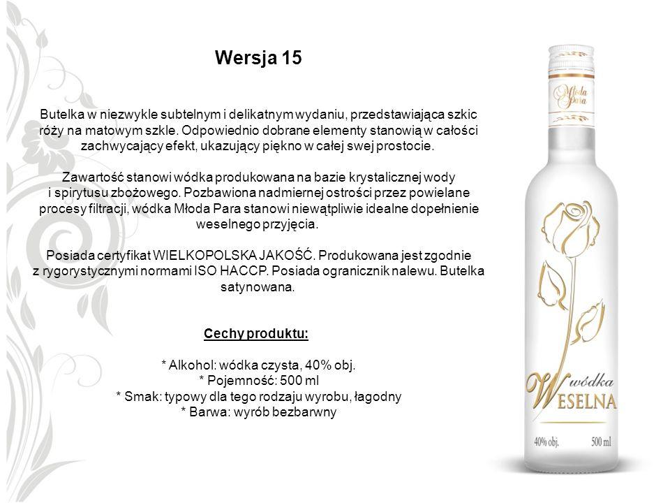 Wersja 15 Butelka w niezwykle subtelnym i delikatnym wydaniu, przedstawiająca szkic róży na matowym szkle. Odpowiednio dobrane elementy stanowią w cał