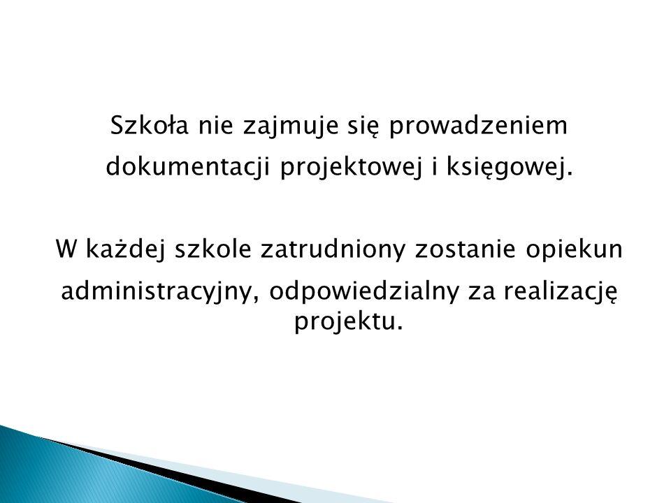 Szkoła nie zajmuje się prowadzeniem dokumentacji projektowej i księgowej.