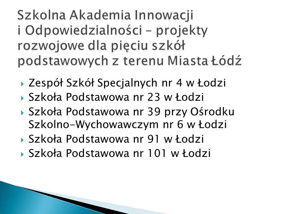 Zespół Szkół Specjalnych nr 4 w Łodzi Szkoła Podstawowa nr 23 w Łodzi Szkoła Podstawowa nr 39 przy Ośrodku Szkolno-Wychowawczym nr 6 w Łodzi Szkoła Podstawowa nr 91 w Łodzi Szkoła Podstawowa nr 101 w Łodzi