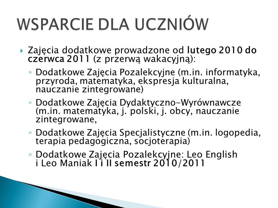 Zajęcia dodatkowe prowadzone od lutego 2010 do czerwca 2011 (z przerwą wakacyjną): Dodatkowe Zajęcia Pozalekcyjne (m.in.