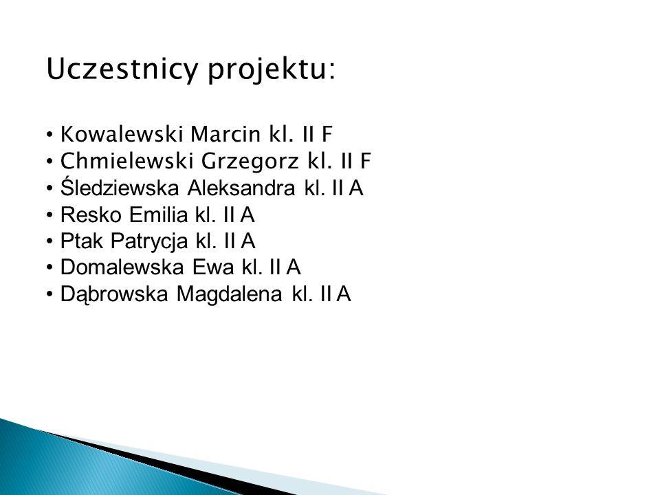 Uczestnicy projektu: Kowalewski Marcin kl. II F Chmielewski Grzegorz kl. II F Śledziewska Aleksandra kl. II A Resko Emilia kl. II A Ptak Patrycja kl.