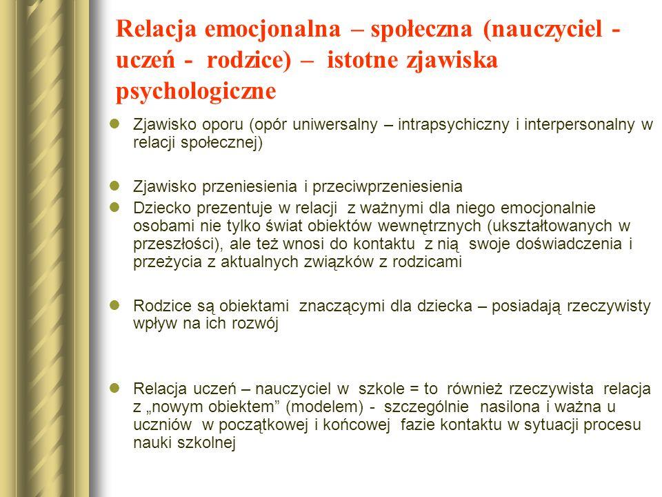 Relacja emocjonalna – społeczna (nauczyciel - uczeń - rodzice) – istotne zjawiska psychologiczne Zjawisko oporu (opór uniwersalny – intrapsychiczny i