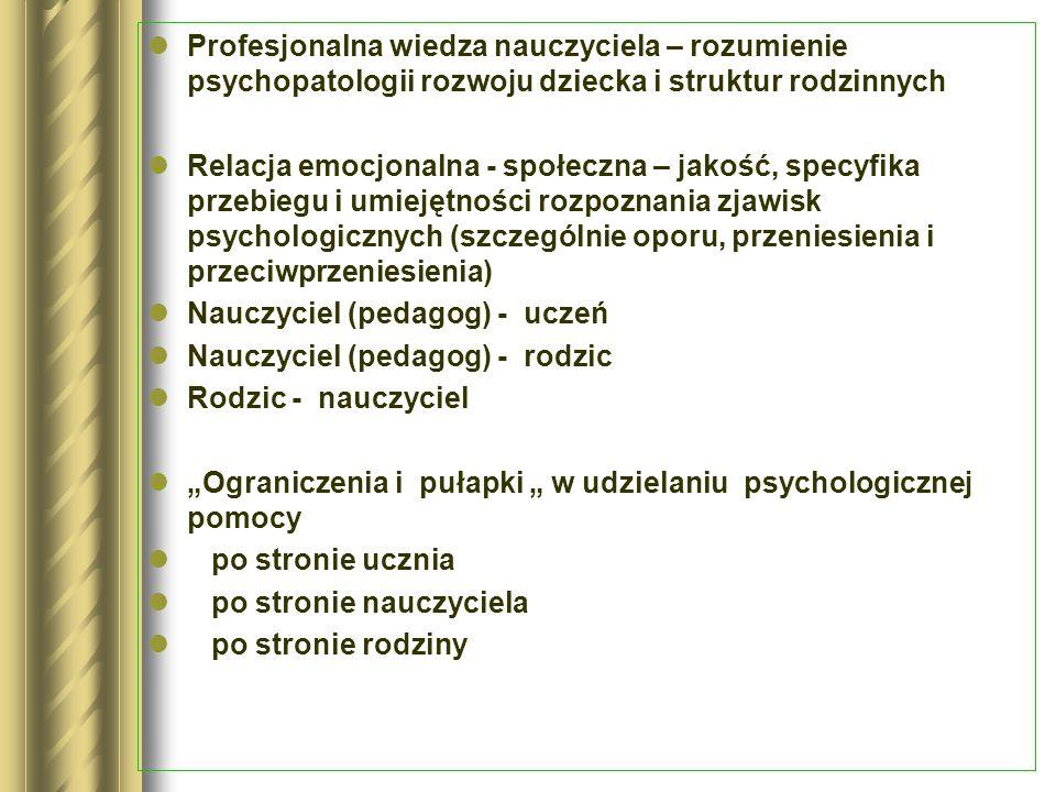 Profesjonalna wiedza nauczyciela – rozumienie psychopatologii rozwoju dziecka i struktur rodzinnych Relacja emocjonalna - społeczna – jakość, specyfik