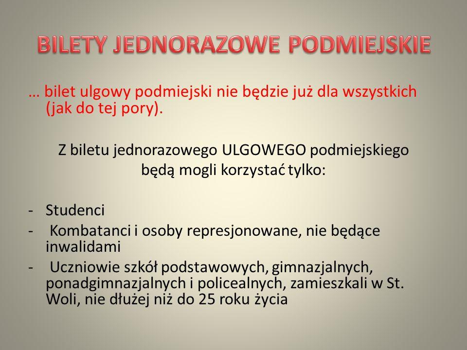 Bilet seniora to bilet tylko dla mieszkańców Gminy Stalowa Wola, w wieku od 70 do 75 lat.