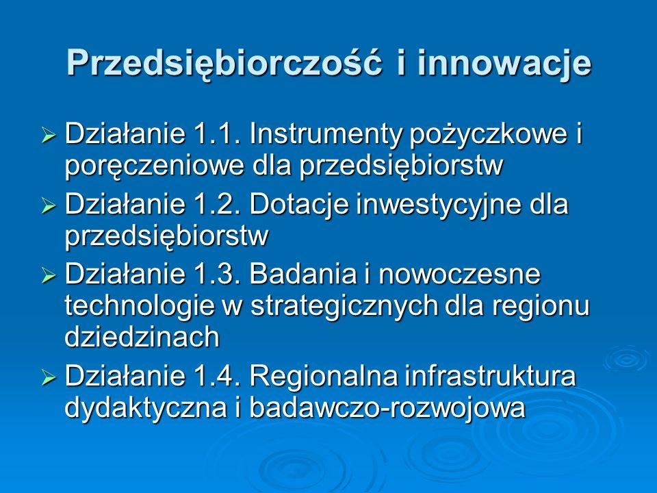 Przedsiębiorczość i innowacje Działanie 1.1.
