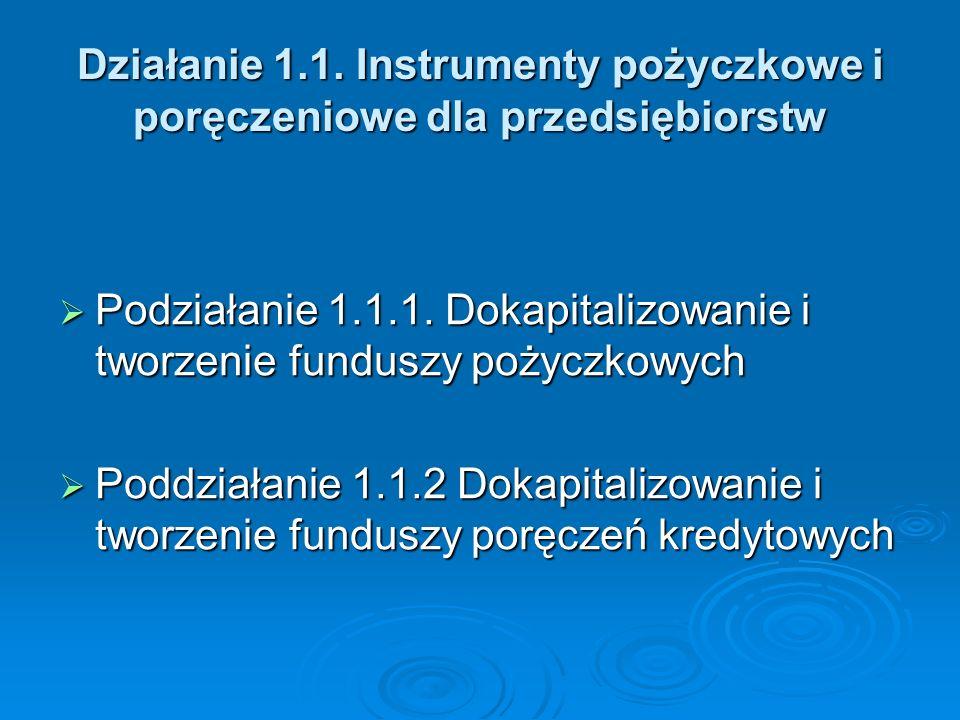 Działanie 1.1.Instrumenty pożyczkowe i poręczeniowe dla przedsiębiorstw Podziałanie 1.1.1.