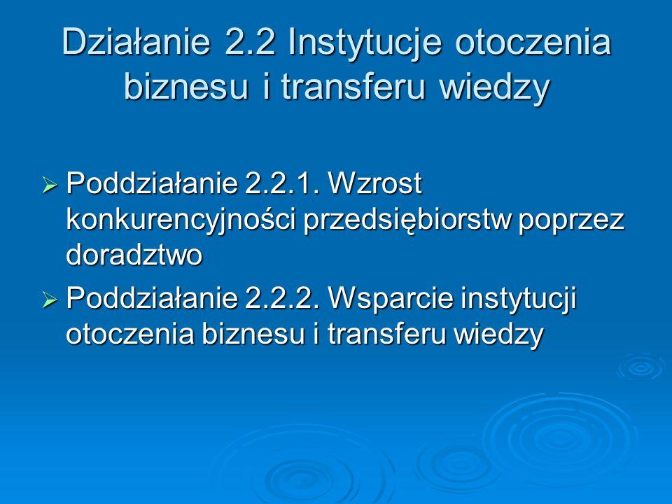 Działanie 2.2 Instytucje otoczenia biznesu i transferu wiedzy Poddziałanie 2.2.1.