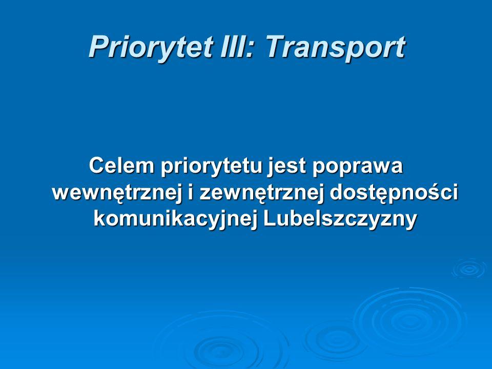 Priorytet III: Transport Celem priorytetu jest poprawa wewnętrznej i zewnętrznej dostępności komunikacyjnej Lubelszczyzny