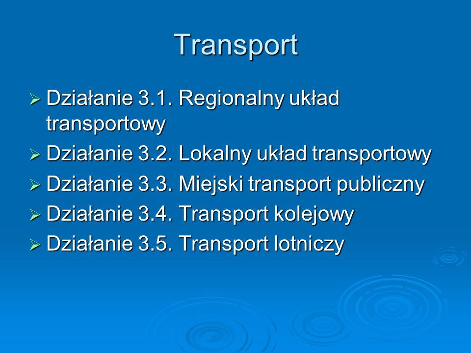 Transport Działanie 3.1.Regionalny układ transportowy Działanie 3.1.