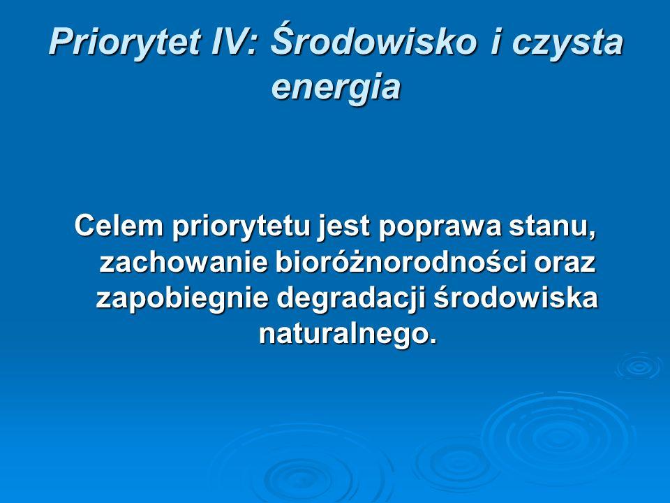 Priorytet IV: Środowisko i czysta energia Celem priorytetu jest poprawa stanu, zachowanie bioróżnorodności oraz zapobiegnie degradacji środowiska naturalnego.