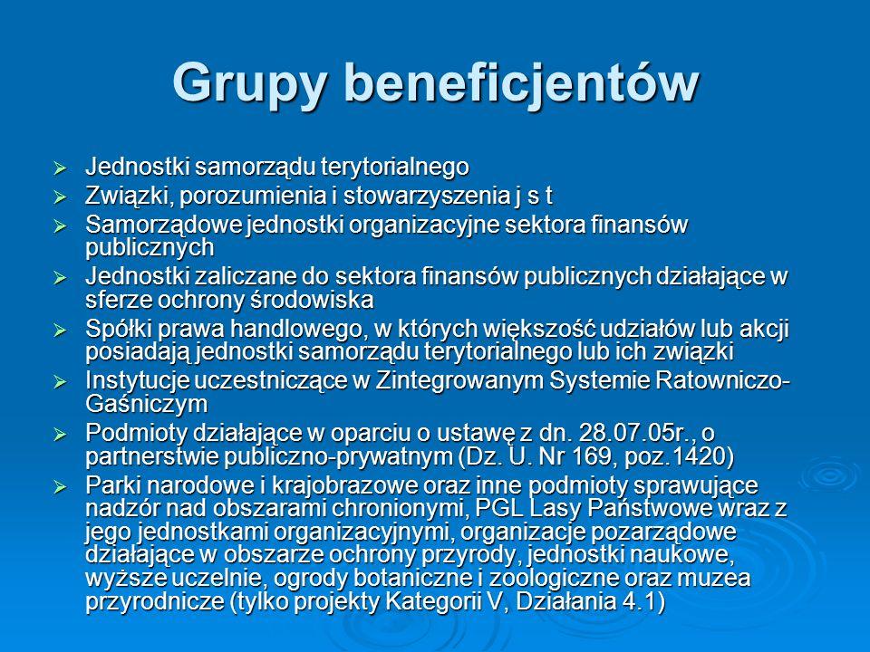 Grupy beneficjentów Jednostki samorządu terytorialnego Jednostki samorządu terytorialnego Związki, porozumienia i stowarzyszenia j s t Związki, porozumienia i stowarzyszenia j s t Samorządowe jednostki organizacyjne sektora finansów publicznych Samorządowe jednostki organizacyjne sektora finansów publicznych Jednostki zaliczane do sektora finansów publicznych działające w sferze ochrony środowiska Jednostki zaliczane do sektora finansów publicznych działające w sferze ochrony środowiska Spółki prawa handlowego, w których większość udziałów lub akcji posiadają jednostki samorządu terytorialnego lub ich związki Spółki prawa handlowego, w których większość udziałów lub akcji posiadają jednostki samorządu terytorialnego lub ich związki Instytucje uczestniczące w Zintegrowanym Systemie Ratowniczo- Gaśniczym Instytucje uczestniczące w Zintegrowanym Systemie Ratowniczo- Gaśniczym Podmioty działające w oparciu o ustawę z dn.