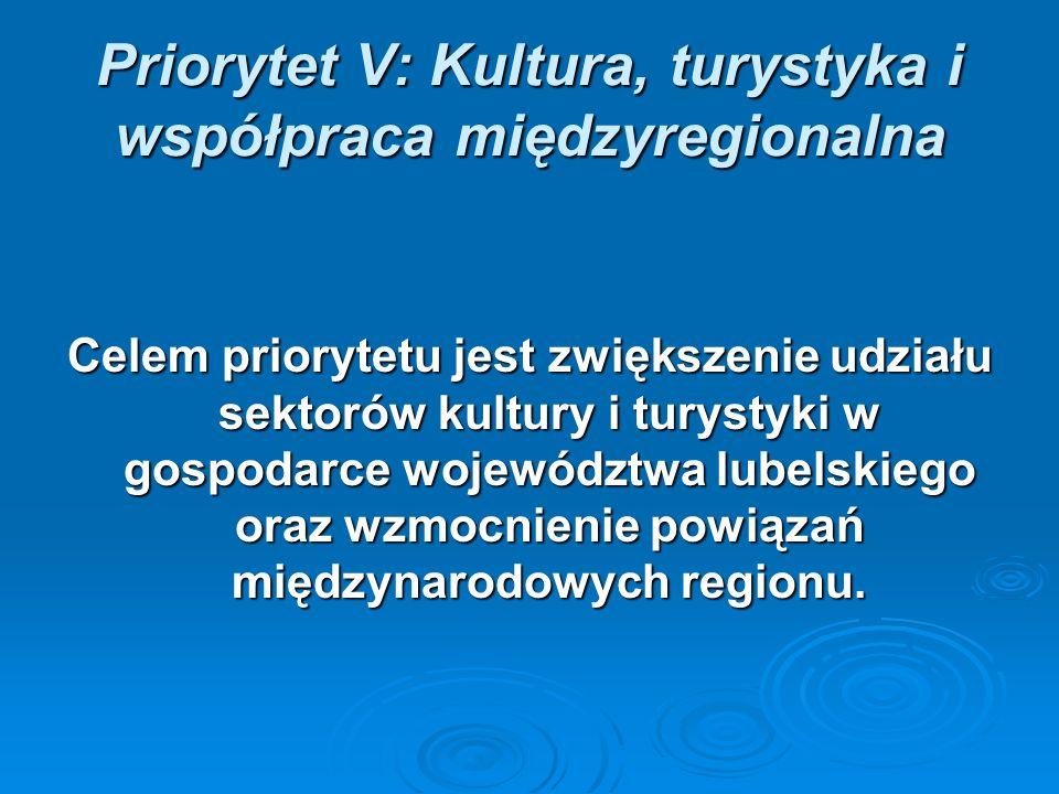 Priorytet V: Kultura, turystyka i współpraca międzyregionalna Celem priorytetu jest zwiększenie udziału sektorów kultury i turystyki w gospodarce województwa lubelskiego oraz wzmocnienie powiązań międzynarodowych regionu.