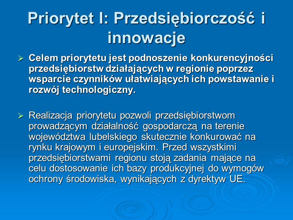 Priorytet I: Przedsiębiorczość i innowacje Celem priorytetu jest podnoszenie konkurencyjności przedsiębiorstw działających w regionie poprzez wsparcie czynników ułatwiających ich powstawanie i rozwój technologiczny.