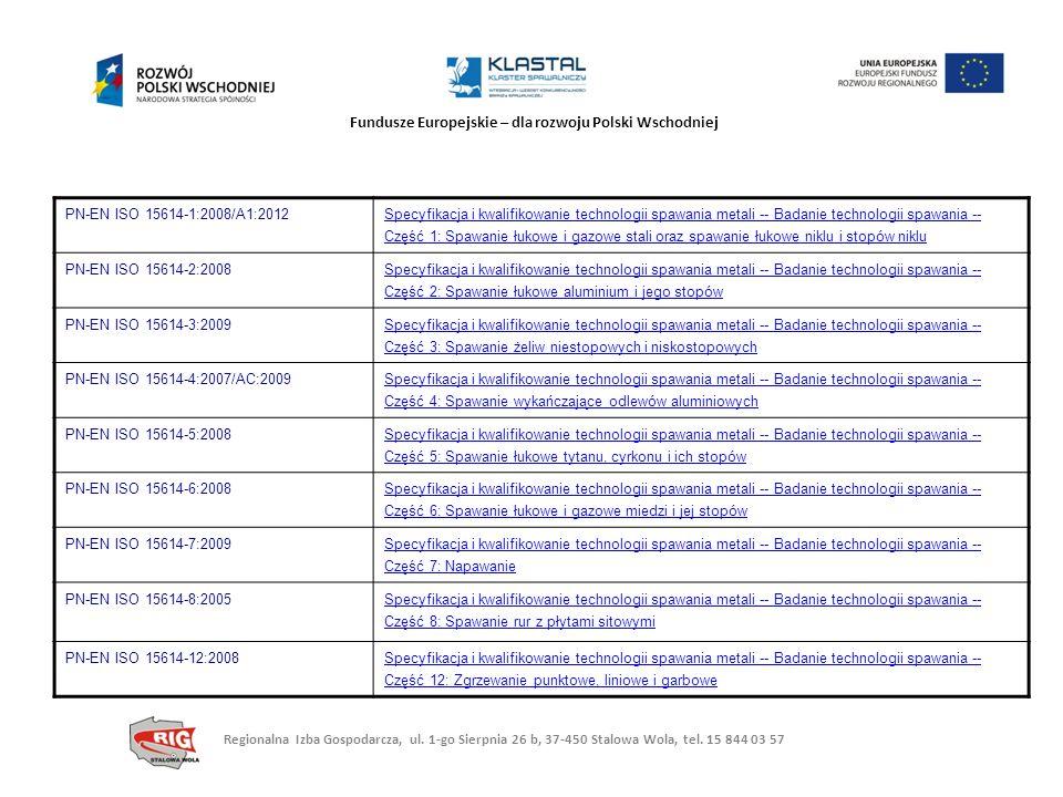 Fundusze Europejskie – dla rozwoju Polski Wschodniej PN-EN ISO 15614-1:2008/A1:2012 Specyfikacja i kwalifikowanie technologii spawania metali -- Badan