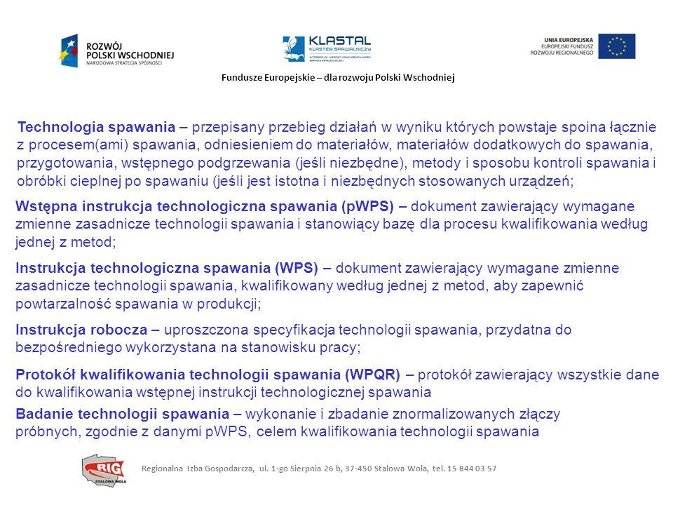 Fundusze Europejskie – dla rozwoju Polski Wschodniej Technologia spawania – przepisany przebieg działań w wyniku których powstaje spoina łącznie z pro
