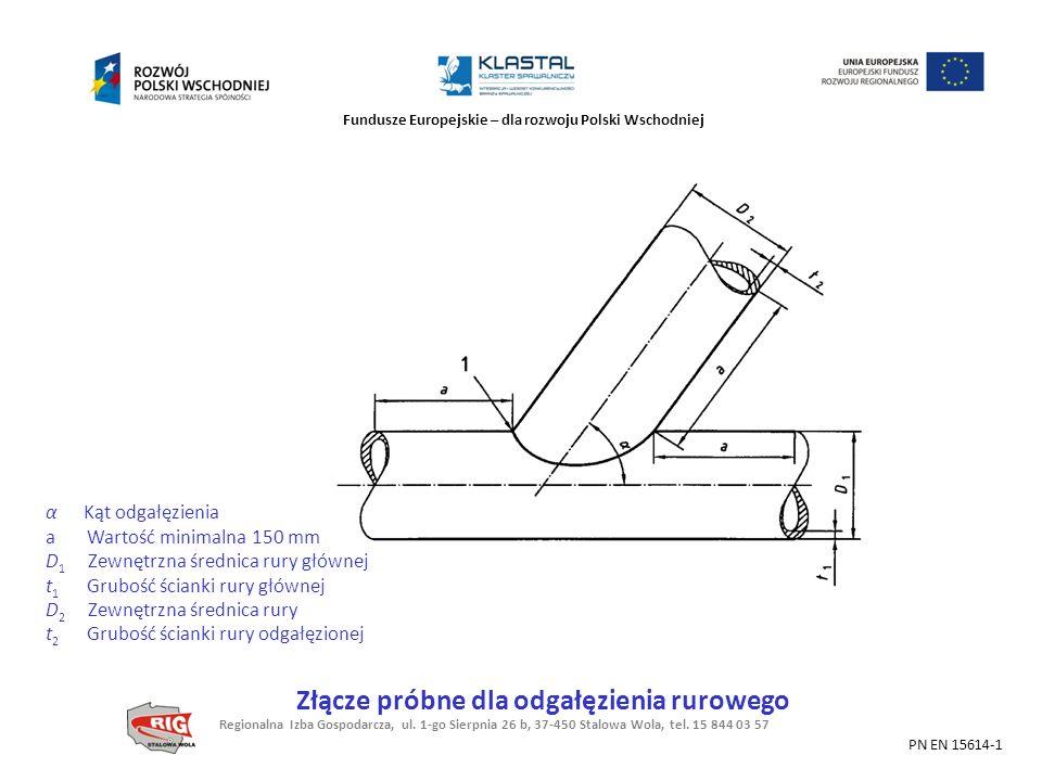 Fundusze Europejskie – dla rozwoju Polski Wschodniej α Kąt odgałęzienia a Wartość minimalna 150 mm D 1 Zewnętrzna średnica rury głównej t 1 Grubość śc