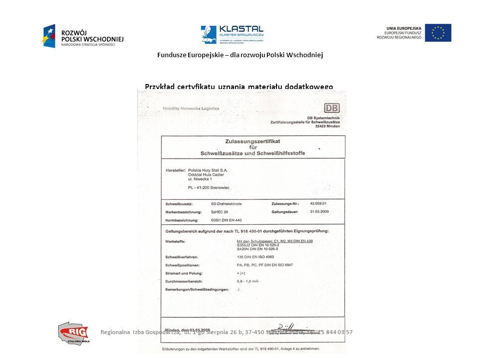 Fundusze Europejskie – dla rozwoju Polski Wschodniej Przykład certyfikatu uznania materiału dodatkowego Regionalna Izba Gospodarcza, ul. 1-go Sierpnia