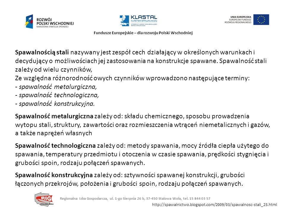 Fundusze Europejskie – dla rozwoju Polski Wschodniej Spawalnością stali nazywany jest zespół cech działający w określonych warunkach i decydujący o mo