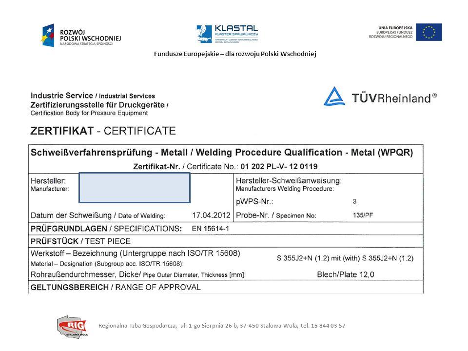 Fundusze Europejskie – dla rozwoju Polski Wschodniej Regionalna Izba Gospodarcza, ul. 1-go Sierpnia 26 b, 37-450 Stalowa Wola, tel. 15 844 03 57