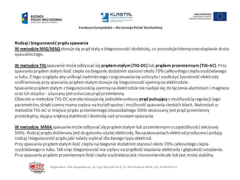 Fundusze Europejskie – dla rozwoju Polski Wschodniej Rodzaj i biegunowość prądu spawania W metodzie MIG/MAG stosuje się prąd stały o biegunowości doda