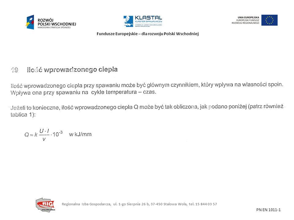 Fundusze Europejskie – dla rozwoju Polski Wschodniej PN EN 1011-1 Regionalna Izba Gospodarcza, ul. 1-go Sierpnia 26 b, 37-450 Stalowa Wola, tel. 15 84