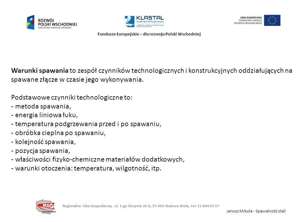 Fundusze Europejskie – dla rozwoju Polski Wschodniej Warunki spawania to zespół czynników technologicznych i konstrukcyjnych oddziałujących na spawane