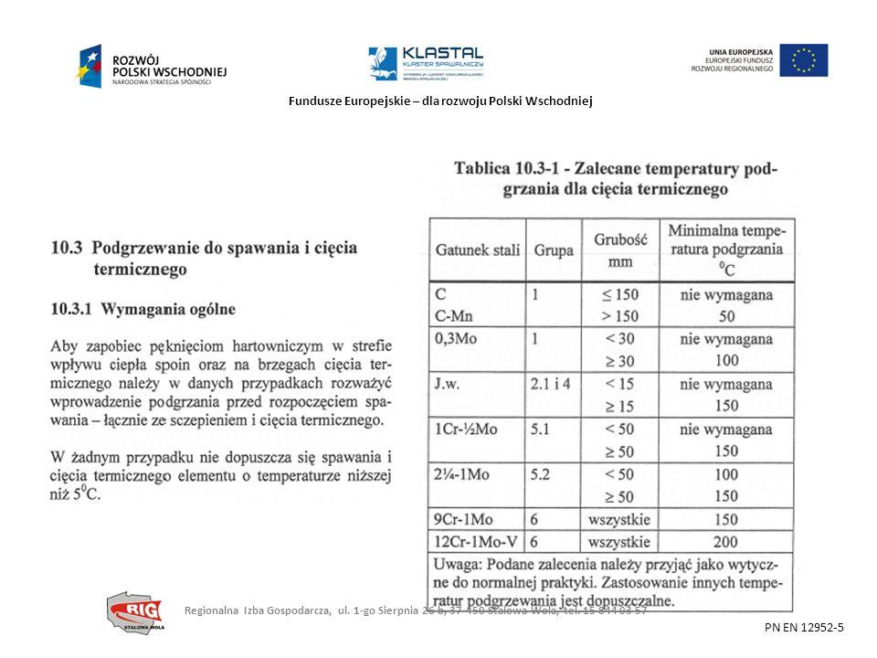 Fundusze Europejskie – dla rozwoju Polski Wschodniej PN EN 12952-5 Regionalna Izba Gospodarcza, ul. 1-go Sierpnia 26 b, 37-450 Stalowa Wola, tel. 15 8