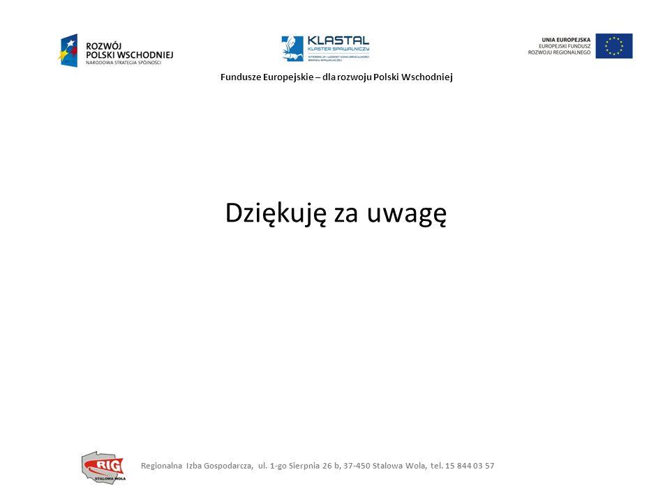 Fundusze Europejskie – dla rozwoju Polski Wschodniej Dziękuję za uwagę Regionalna Izba Gospodarcza, ul. 1-go Sierpnia 26 b, 37-450 Stalowa Wola, tel.