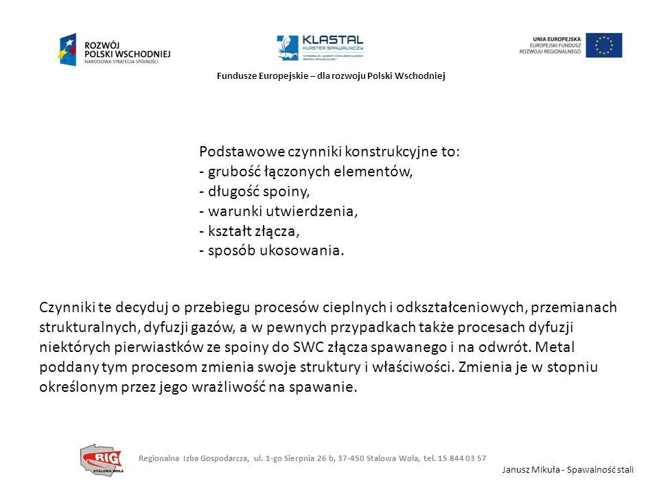 Fundusze Europejskie – dla rozwoju Polski Wschodniej Podstawowe czynniki konstrukcyjne to: - grubość łączonych elementów, - długość spoiny, - warunki
