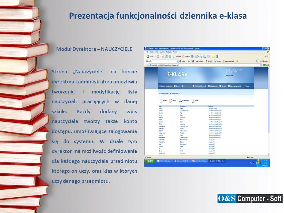 Prezentacja funkcjonalności dziennika e-klasa Moduł Dyrektora – SZKOLNE DRUKI – ŚWIADECTWA Strona Szkolne druki – świadectwa umożliwia wydrukowanie świadectw, z wykorzystaniem informacji zawartych w systemie (data urodzenia ucznia, stopnie semestralne, itp.), co znakomicie usprawnia tą monotonną czynność.