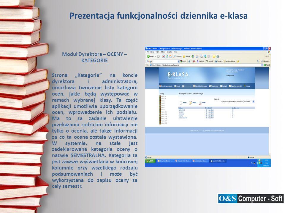 Prezentacja funkcjonalności dziennika e-klasa Moduł Dyrektora – KONTAKT PRACOWNIKÓW – SKRZYNKA Dział kontaktu umożliwia przegląd wiadomości wysyłanych pomiędzy pracownikami szkoły, w której użytkownik jest nadawcą lub odbiorcą.