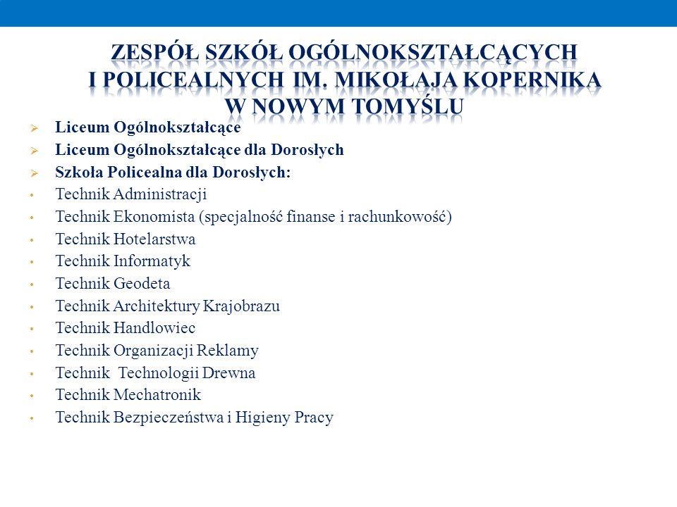 Liceum Ogólnokształcące Liceum Ogólnokształcące dla Dorosłych Szkoła Policealna dla Dorosłych: Technik Administracji Technik Ekonomista (specjalność f