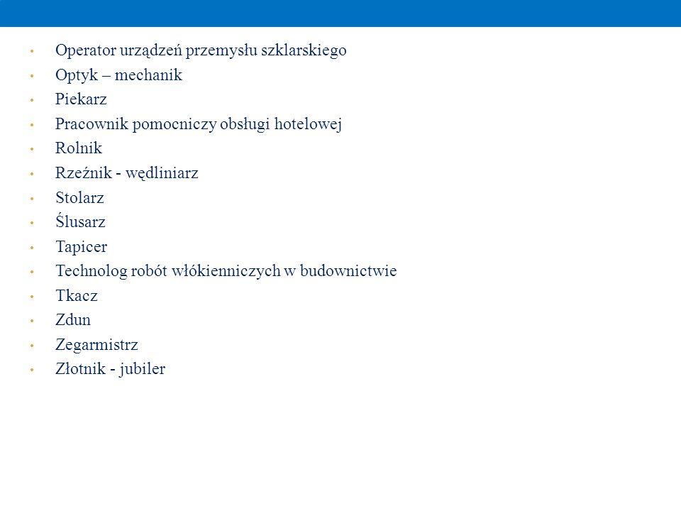 Operator urządzeń przemysłu szklarskiego Optyk – mechanik Piekarz Pracownik pomocniczy obsługi hotelowej Rolnik Rzeźnik - wędliniarz Stolarz Ślusarz T